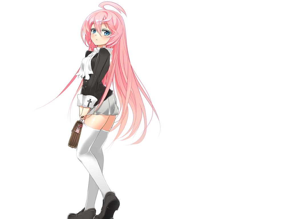 blue_eyes ch@r hanabusa_touko long_hair original pink_hair white zettai_ryouiki
