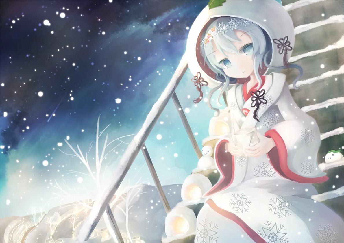 bunny hatsune_miku japanese_clothes kimono night short_hair snow snowman stairs ti_owo tree vocaloid wedding_attire white_hair winter yuki_miku