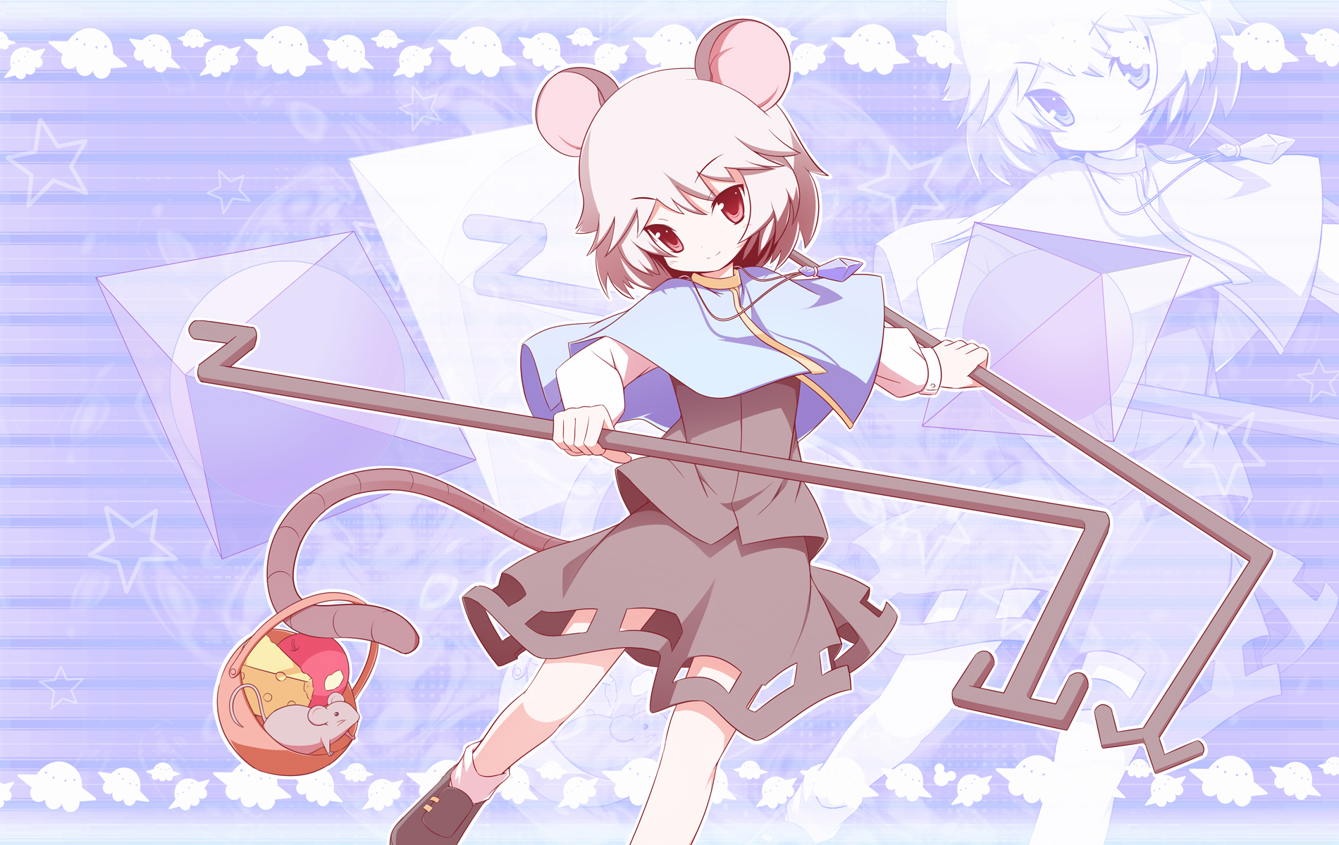 animal animal_ears gray_hair machily mouse mousegirl nazrin red_eyes short_hair skirt tail touhou weapon zoom_layer