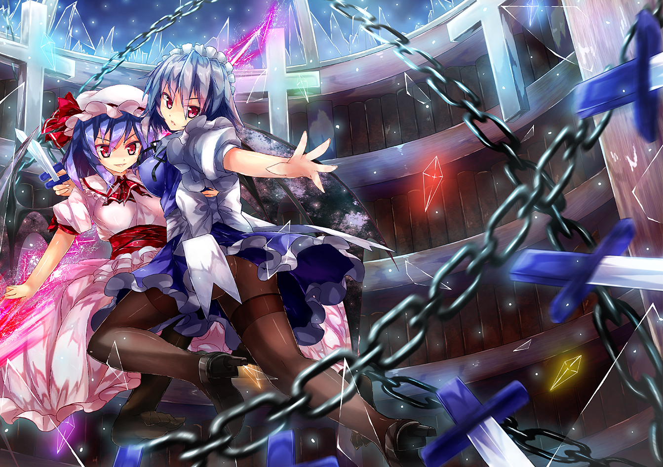 90i blue_hair chain cross erect_nipples gray_hair headdress izayoi_sakuya knife maid pantyhose remilia_scarlet short_hair touhou vampire weapon wings