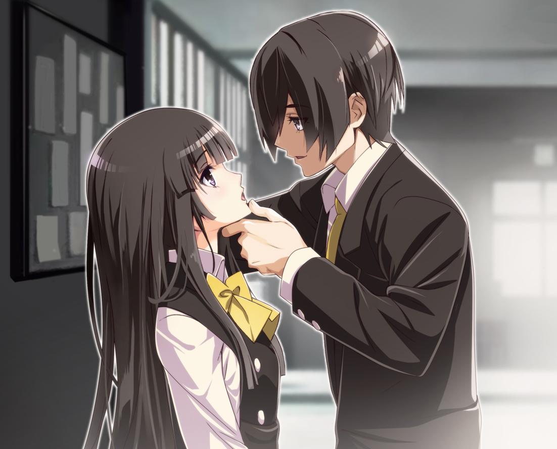 black_hair bow long_hair male nyoronyoro original purple_eyes school_uniform short_hair tie