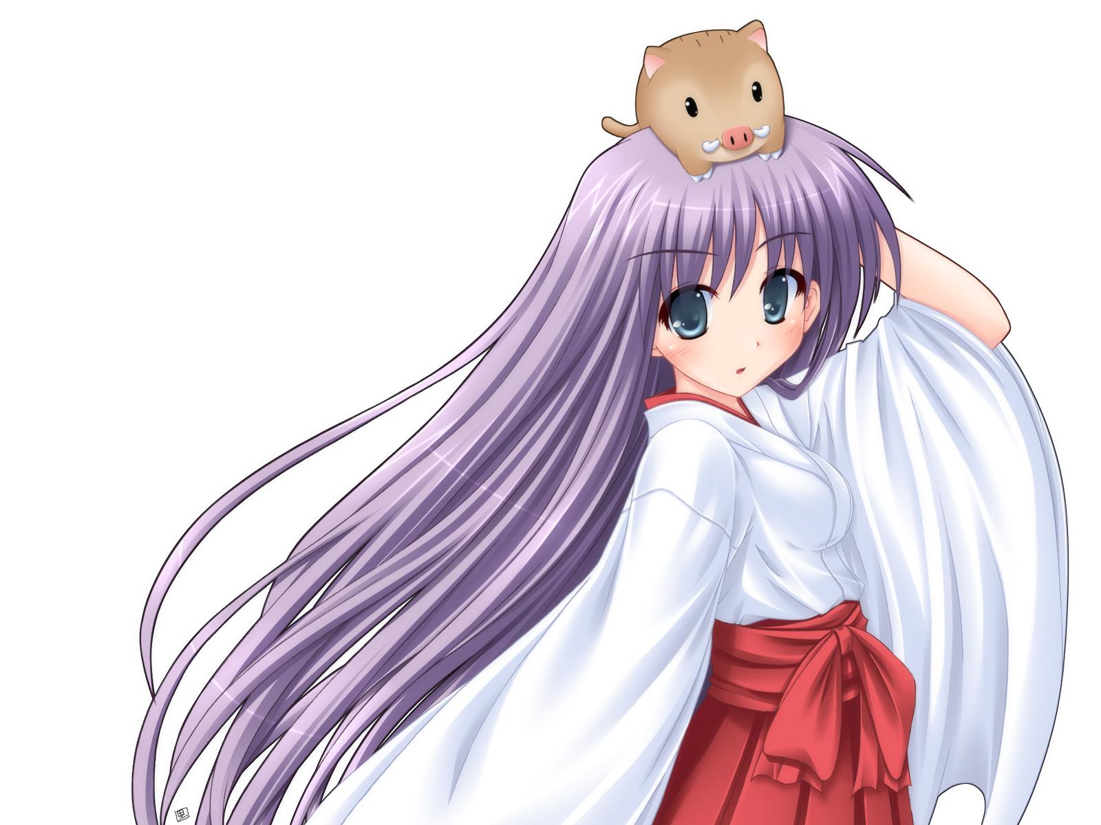 animal blue_eyes japanese_clothes long_hair miko purple_hair