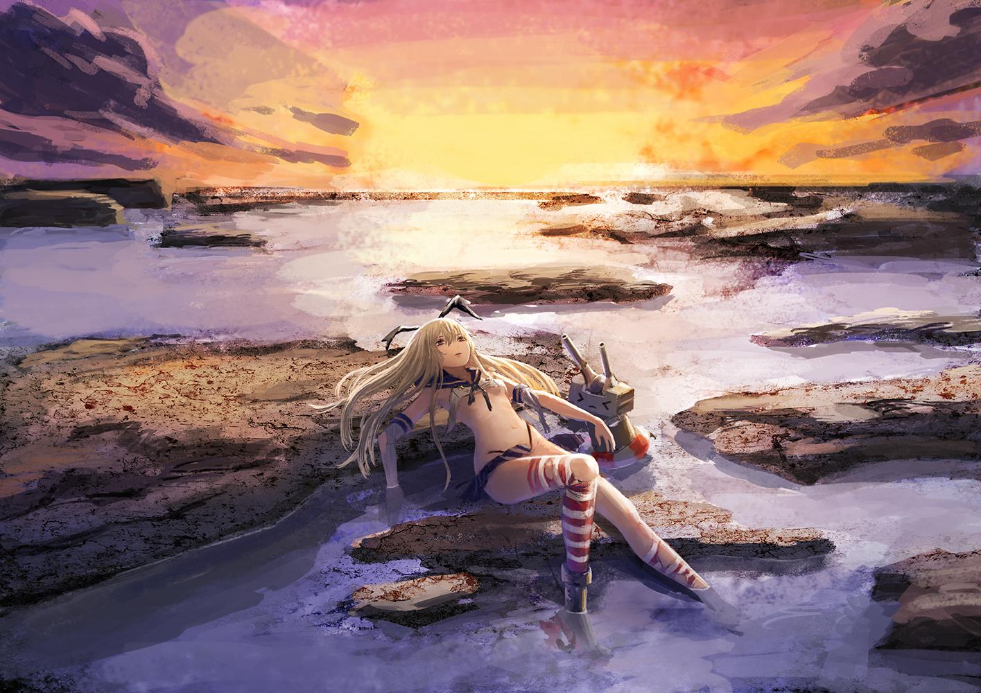 anthropomorphism blonde_hair clouds kantai_collection long_hair menka navel shimakaze_(kancolle) skirt sky sunset thighhighs water