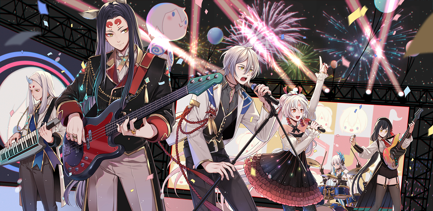 aoandon demon drums fireworks group guitar instrument male mia0309 microphone onmyouji piano tagme_(character)