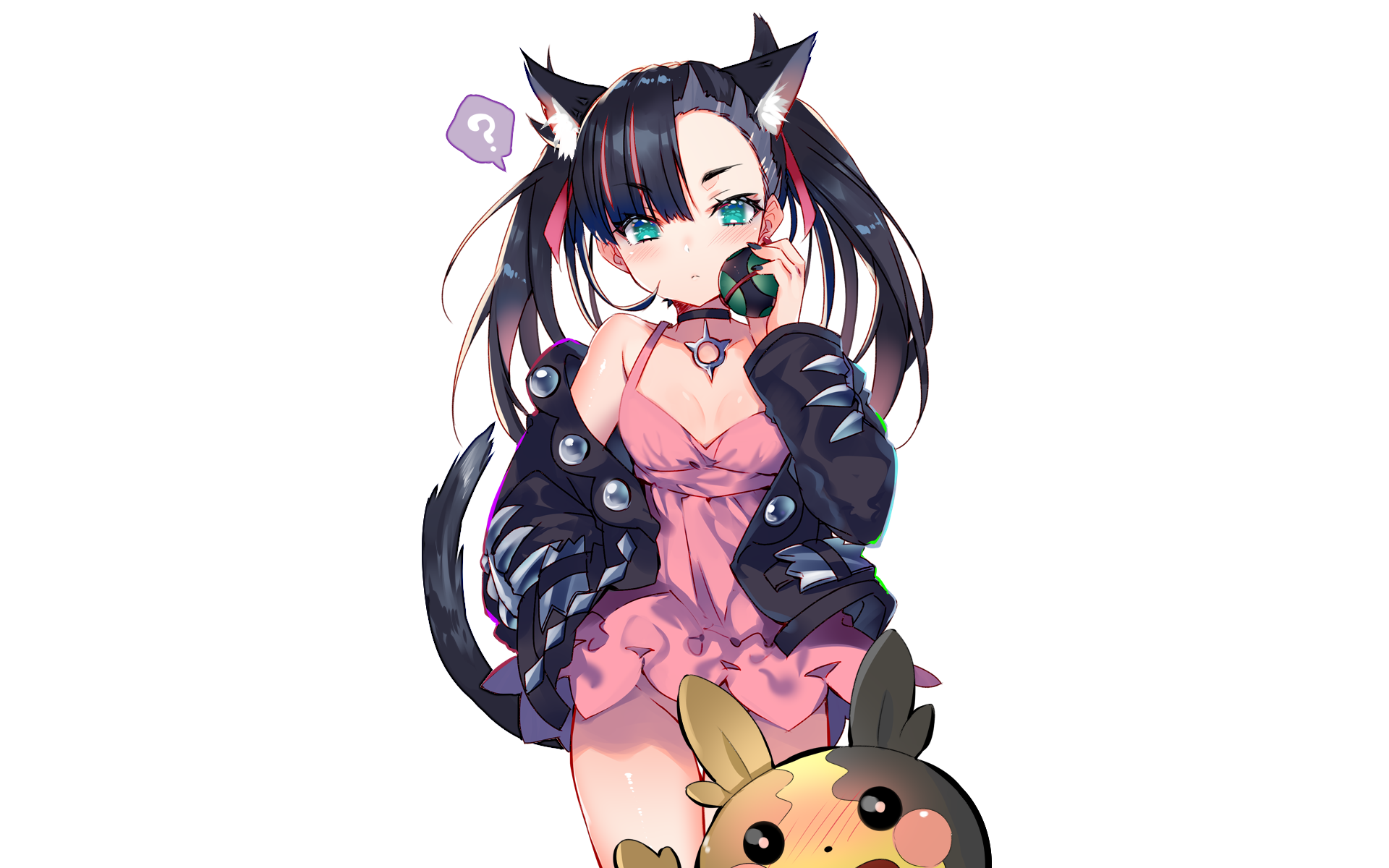 animal ears blush brown hair catgirl dress kotoba noriaki