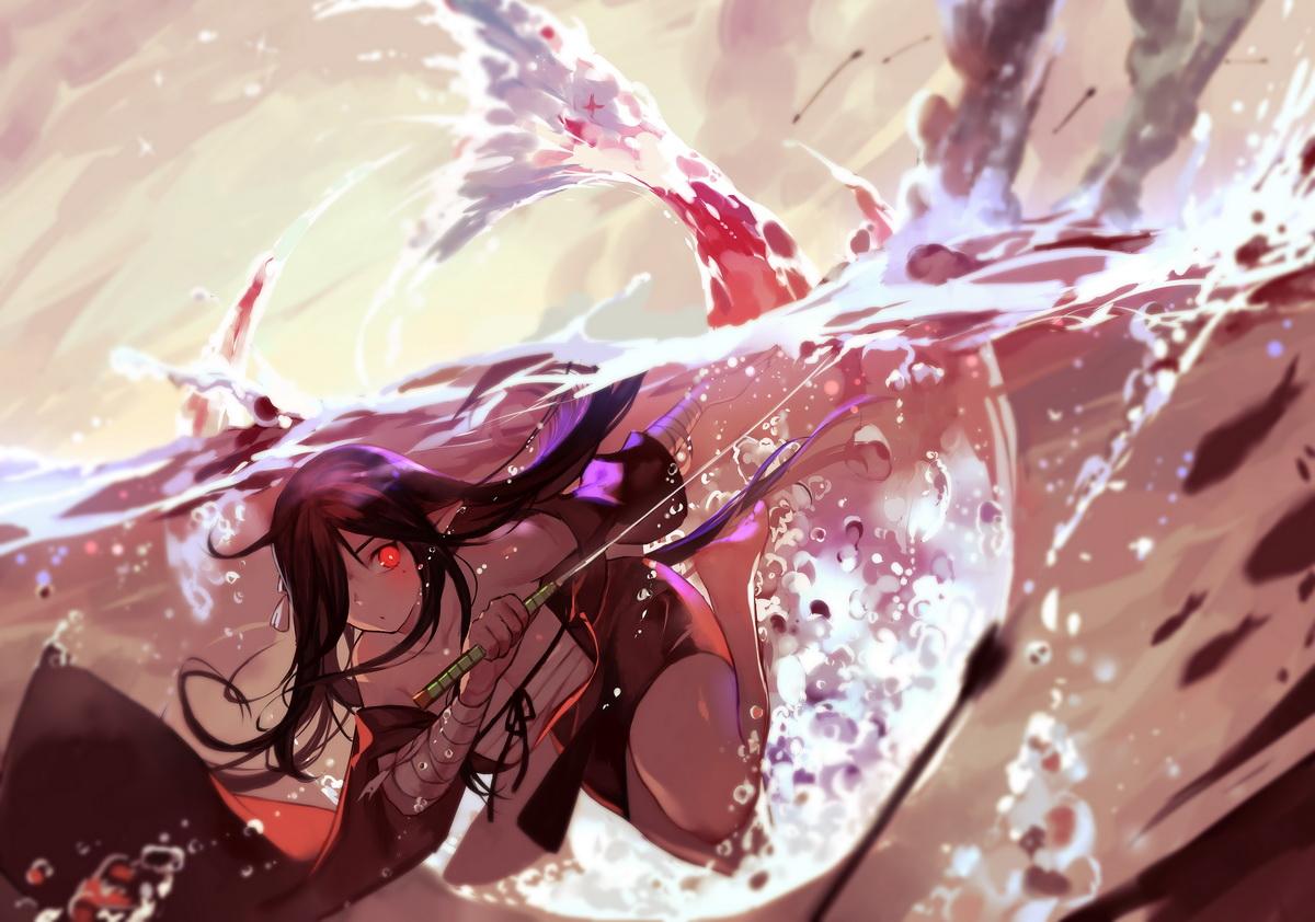 bandage barefoot brown_hair bubbles japanese_clothes joseph_lee katana long_hair original pixiv_fantasia pointed_ears red_eyes sarashi sword underwater underwear water weapon