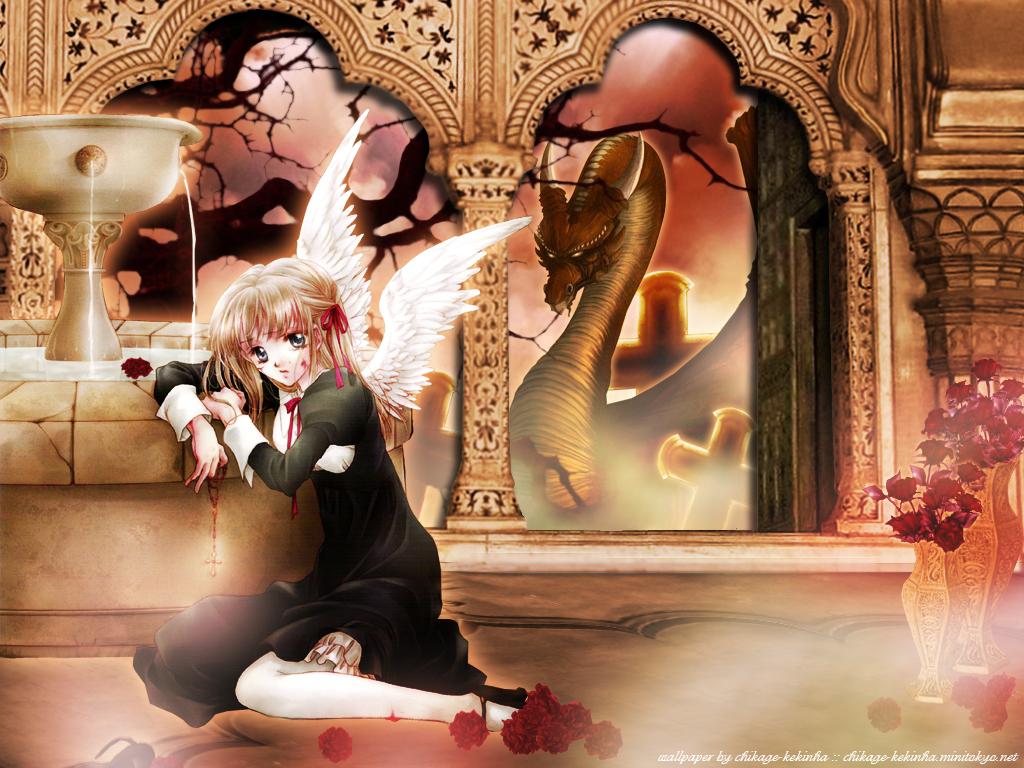 angel black_eyes blonde_hair blood cross dragon dress flowers nun ribbons tree water wings