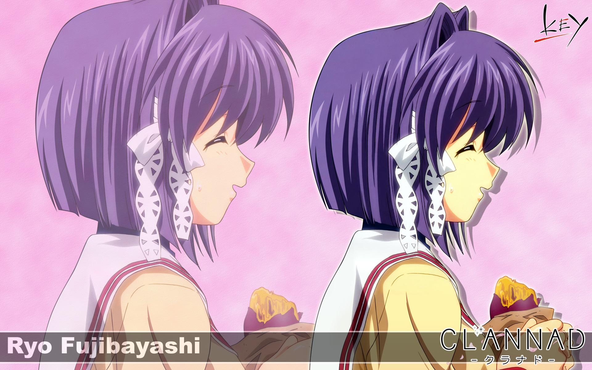 clannad fujibayashi_ryou key logo purple_hair seifuku short_hair zoom_layer