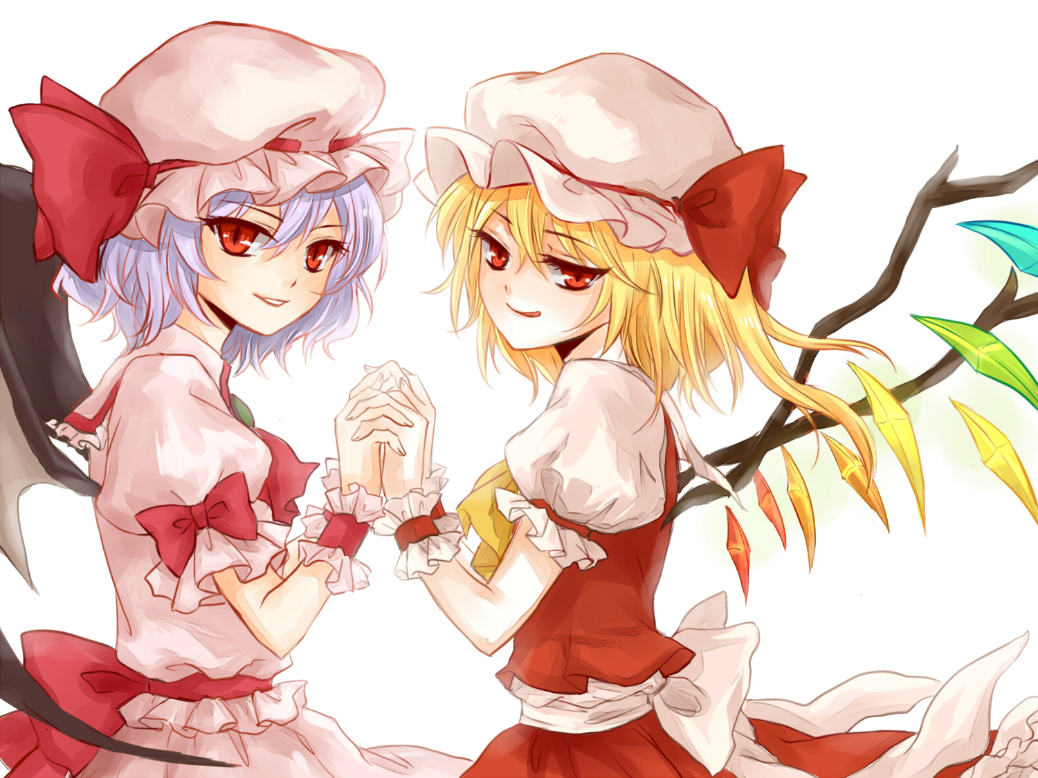 2girls blonde_hair blue_hair bow flandre_scarlet hat oxlee red_eyes remilia_scarlet short_hair touhou vampire wings