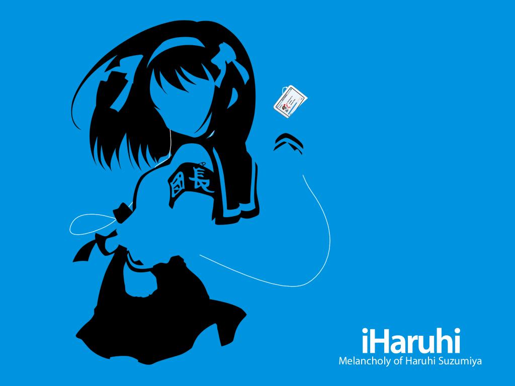 Blue Ipod Parody Silhouette Suzumiya Haruhi Suzumiya Haruhi No Yuutsu Konachan Com Konachan Com Anime Wallpapers