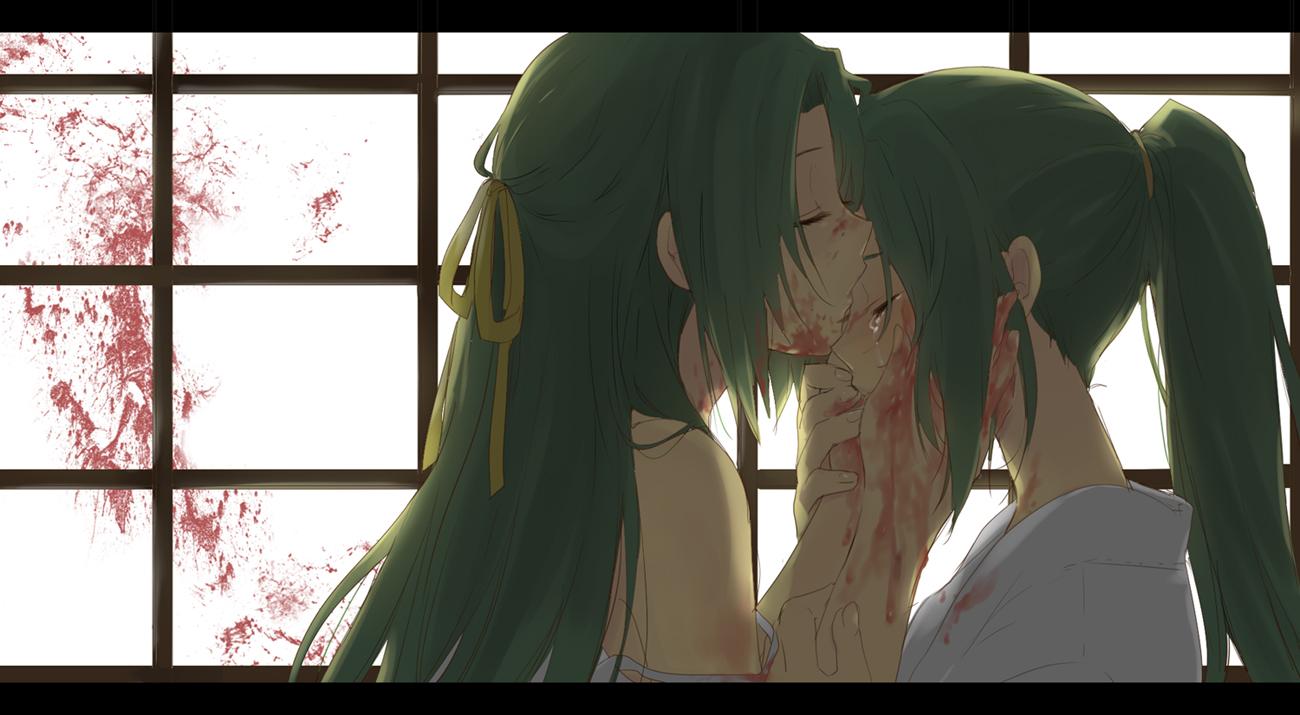 blood crying green_hair higurashi_no_naku_koro_ni sonozaki_mion sonozaki_shion tears twins