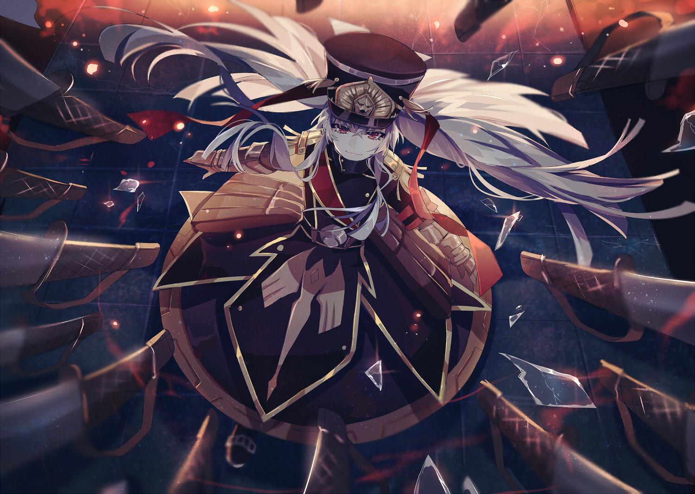 elbow_gloves gloves gray_hair gunpuku_no_himegimi hat lococo:p long_hair military re:creators red_eyes ribbons sword uniform weapon