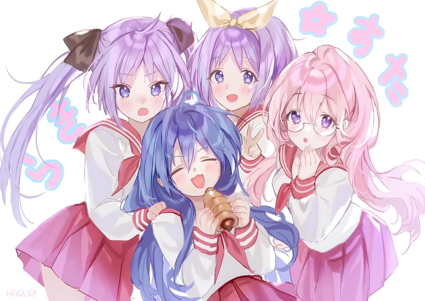 blue_hair blush cat_smile food glasses group hiiragi_kagami hiiragi_tsukasa izumi_konata long_hair lucky_star mullpull pink_hair purple_eyes purple_hair school_uniform short_hair skirt takara_miyuki twins twintails watermark