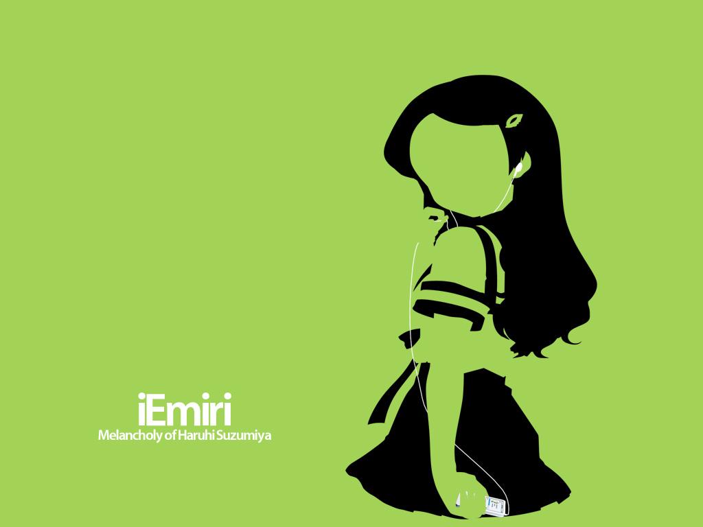 green ipod kimidori_emiri parody silhouette suzumiya_haruhi_no_yuutsu