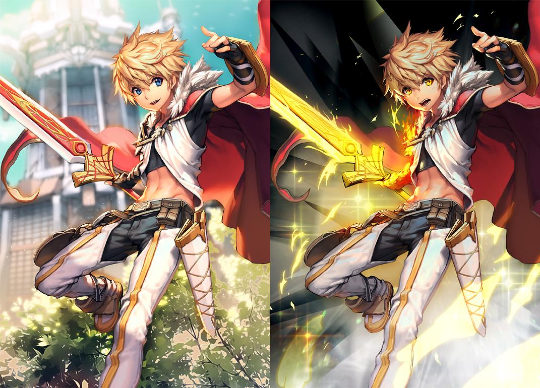 all_male blade_protector blonde_hair blue_eyes cape gloves kaku-san-sei_million_arthur kkuem magic male navel orange_eyes short_hair sword weapon