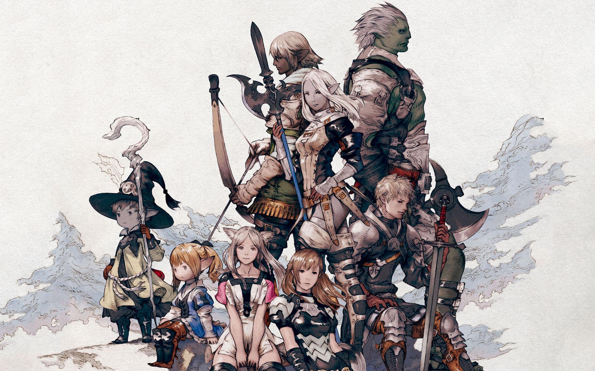 bow bow_(weapon) elezen final_fantasy final_fantasy_xiv group hat hyur ...