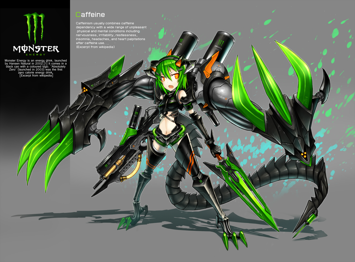 anthropomorphism drink gia green_hair orange_eyes original short_hair weapon