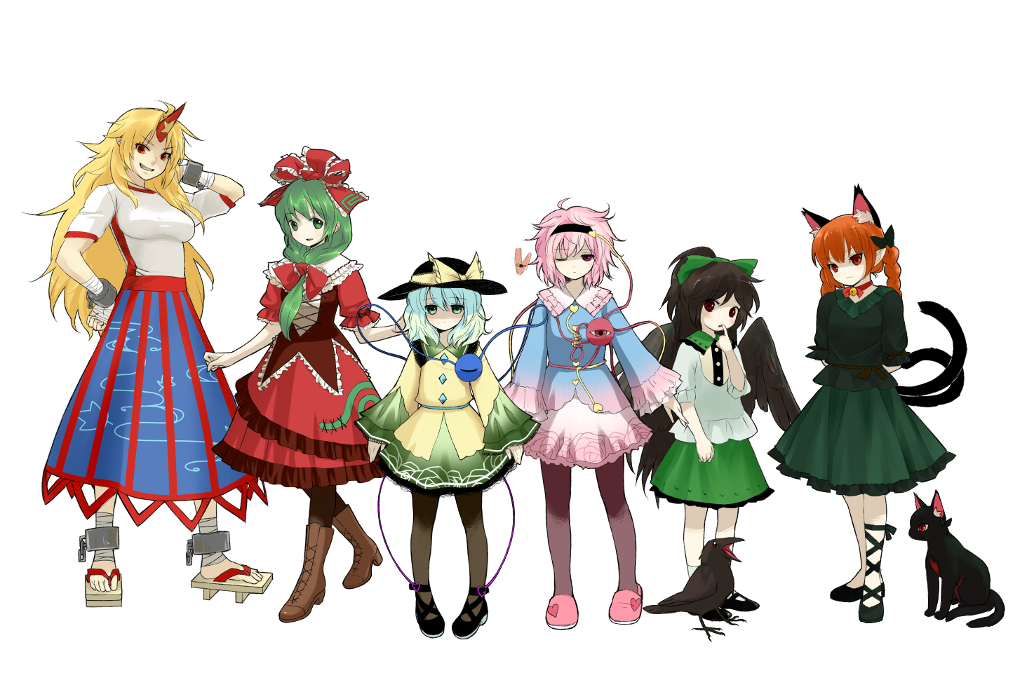 animal_ears blonde_hair bow braids catgirl dress green_eyes green_hair group hat horns hoshiguma_yuugi kaenbyou_rin kagiyama_hina komeiji_koishi komeiji_satori long_hair pantyhose pink_eyes pink_hair ponytail red_eyes reiuji_utsuho sdmaiden short_hair skirt tail touhou wings