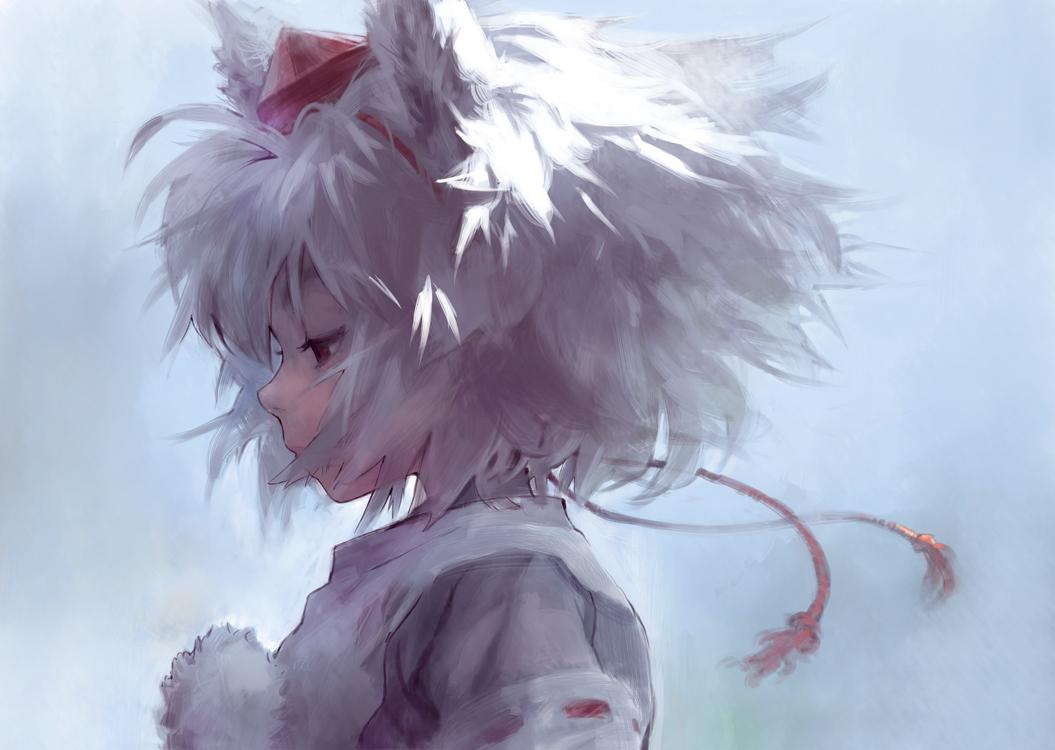 animal_ears hat inubashiri_momiji matsuda_(matsukichi) red_eyes touhou wolfgirl