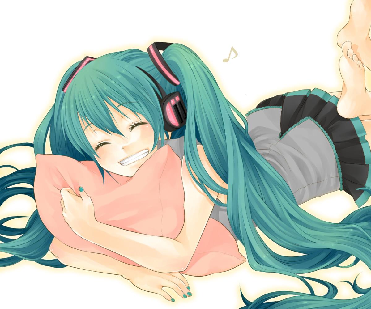 hatsune_miku headphones nemutagari twintails vocaloid white