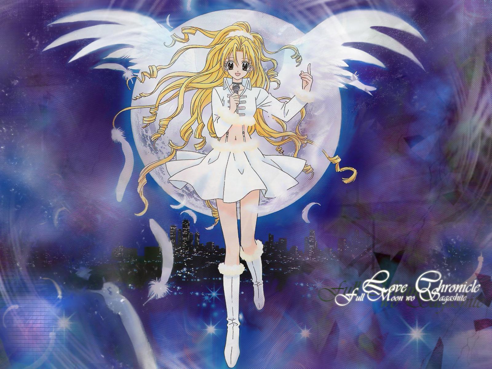 angel arina_tanemura blonde_hair boots building city feathers full_moon_wo_sagashite koyama_mitsuki long_hair moon skirt tagme wings
