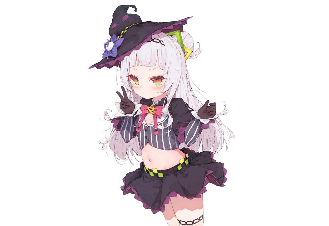 blush cropped dolphro-kun garter gloves gray_hair hat headband hololive loli long_hair murasaki_shion navel skirt white witch witch_hat yellow_eyes