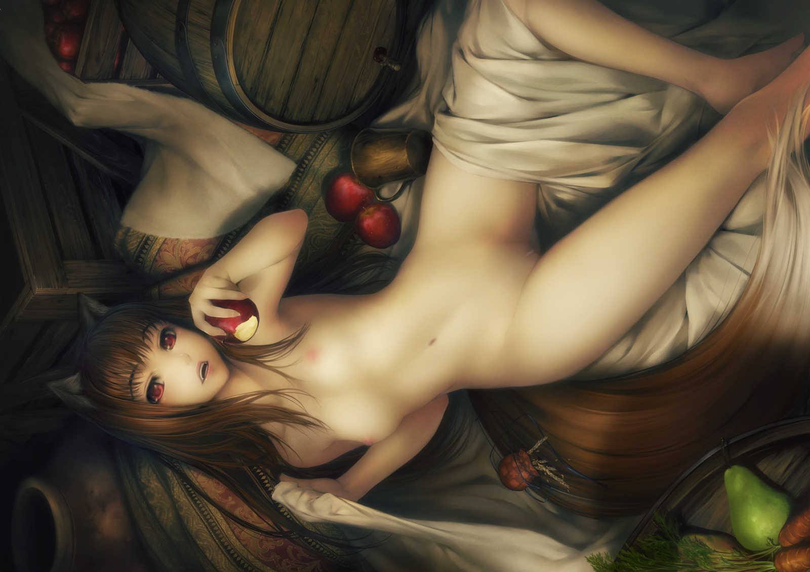 animal ears apple breasts brown hair food fruit horo long hair navel nipples nude ookami to koushinryou photoshop pussy red eyes simosi tail uncensored wolfgirl
