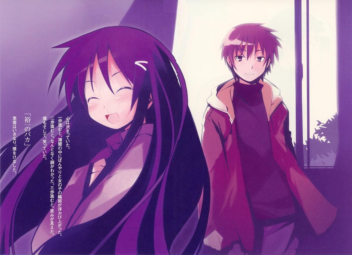 blush brown_hair gray_eyes hanbun_no_tsuki_ga_noboru_sora long_hair purple_hair scan short_hair yamamoto_keiji