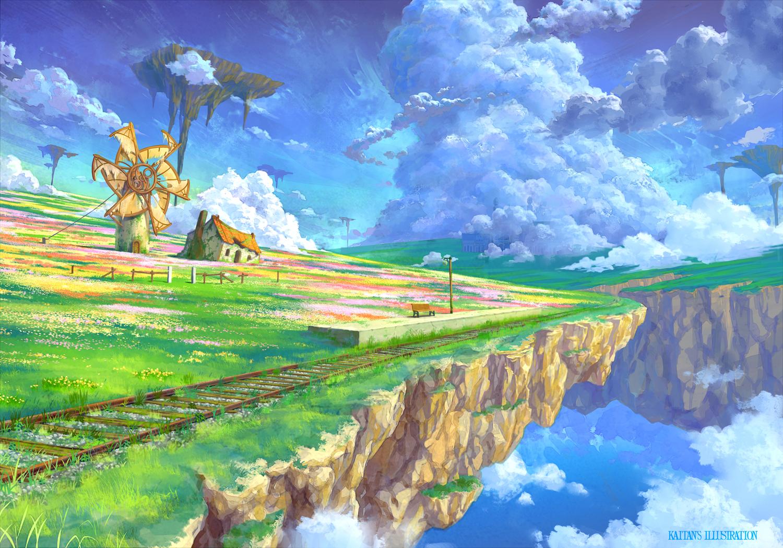 clouds grass kaitan landscape original scenic sky train water watermark windmill