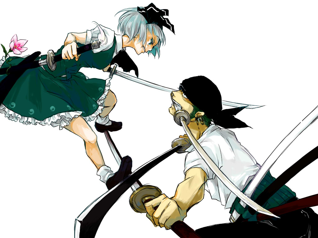 Crossover Flowers Gray Hair Green Hair Katana Konpaku