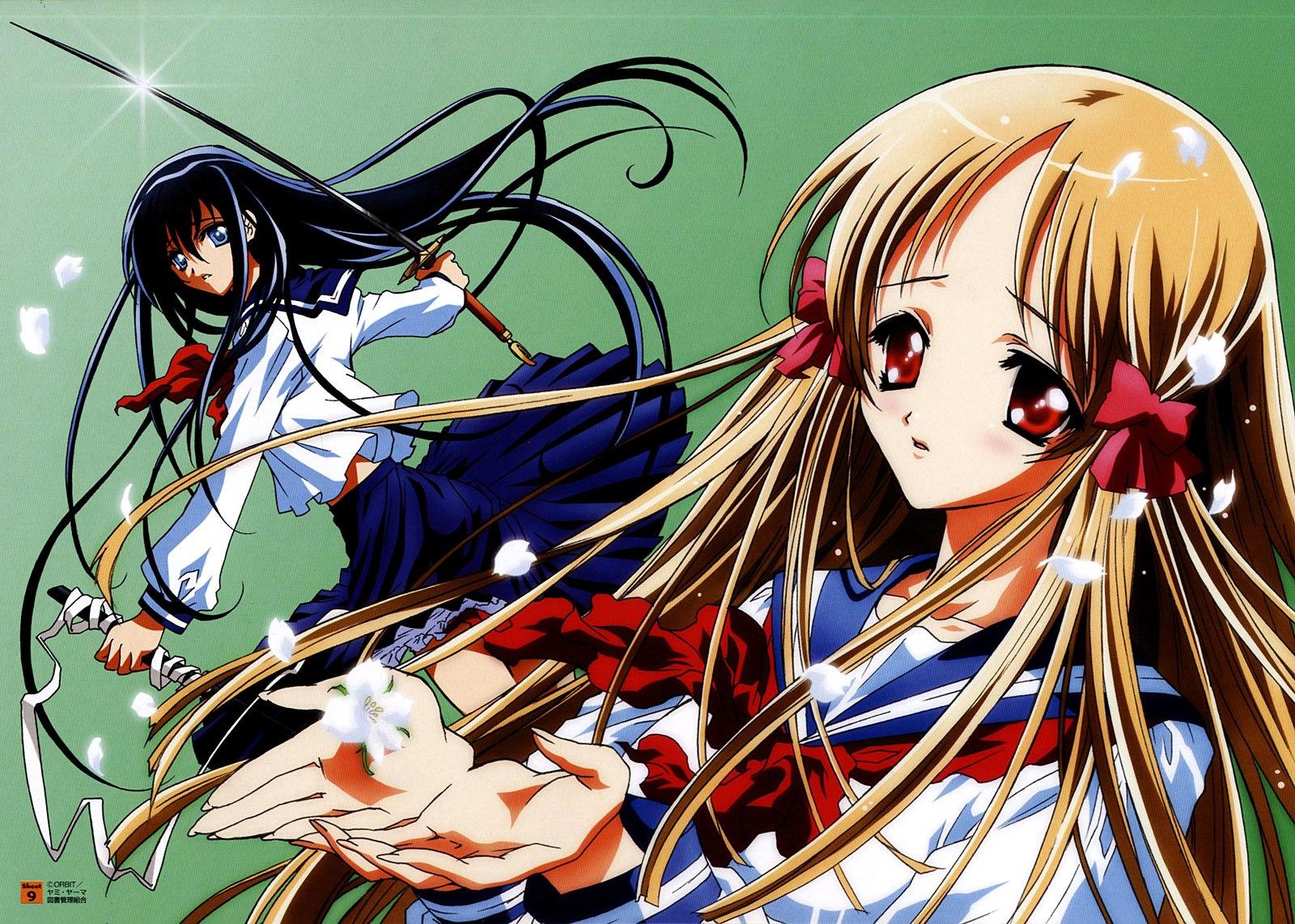azuma_hatsumi azuma_hazuki school_uniform sword weapon yami_to_boushi_to_hon_no_tabibito