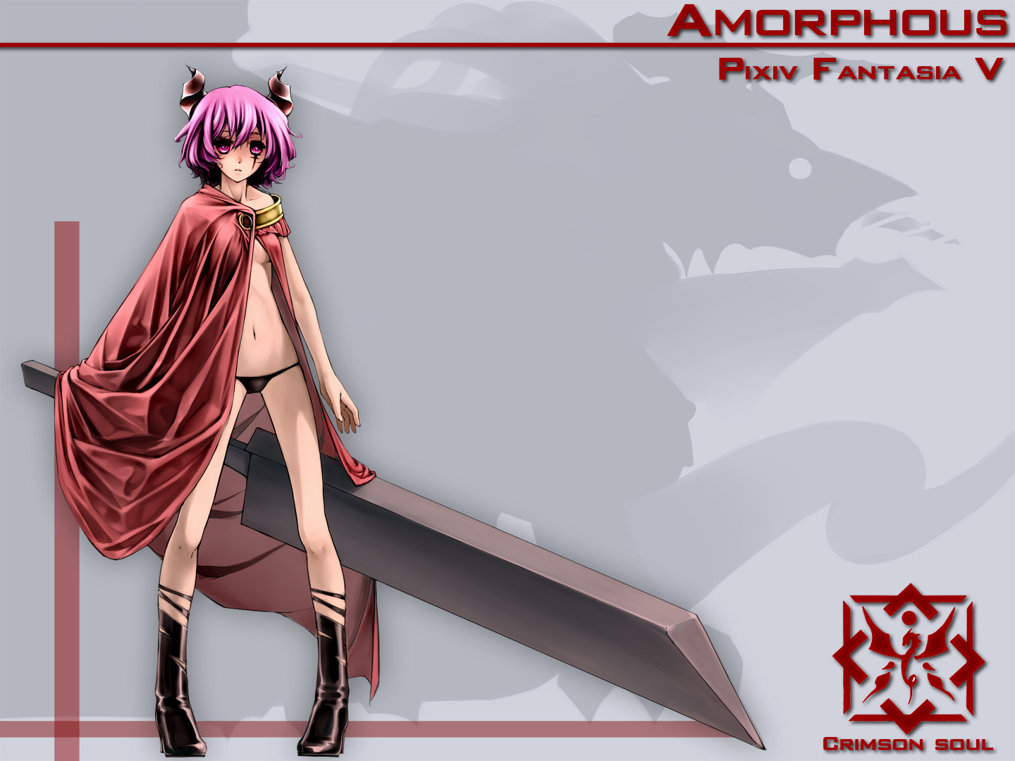 cape horns no_bra panties pixiv_fantasia short_hair sword tinmo underwear weapon