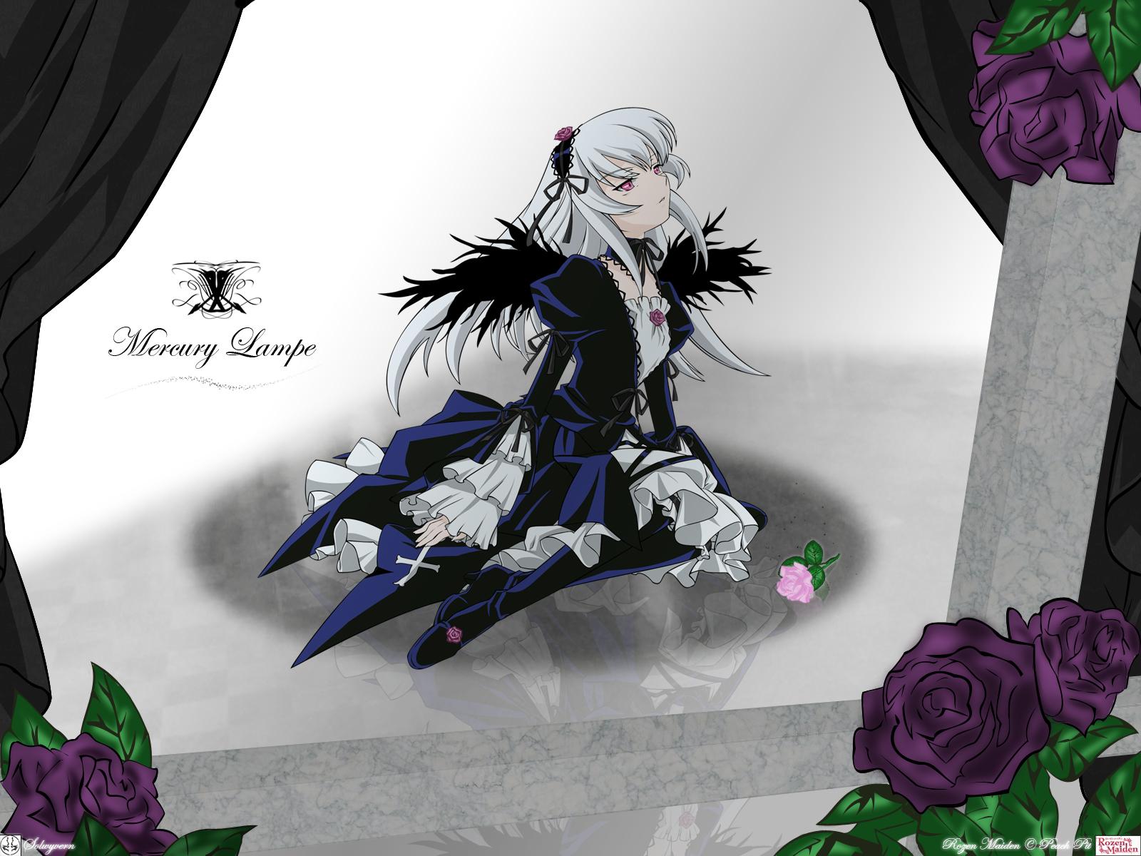 flowers gothic long_hair pink_eyes rozen_maiden suigintou white_hair wings
