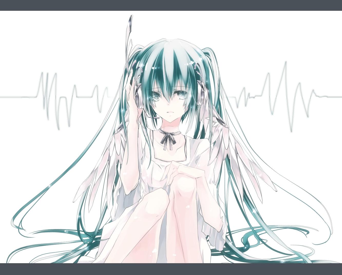 hatsune_miku headphones twintails vocaloid white