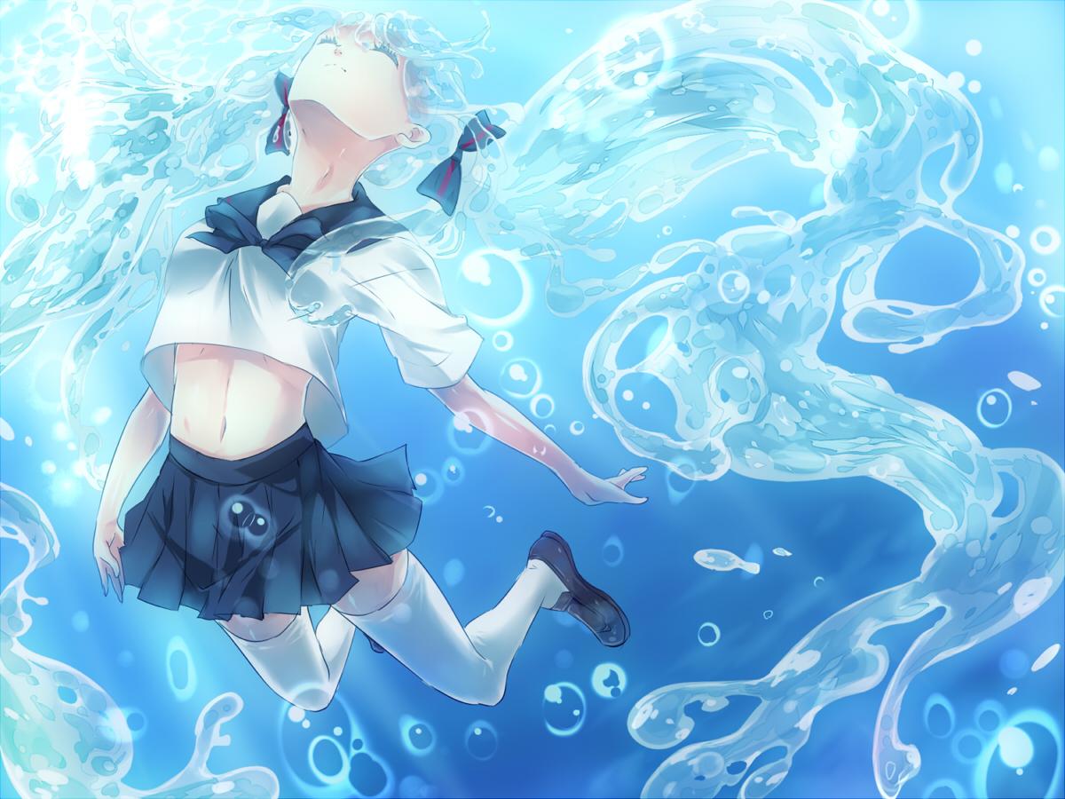 blue_hair bottle_miku bubbles hatsune_miku maruki_(punchiki) skirt thighhighs twintails underwater uniform vocaloid water