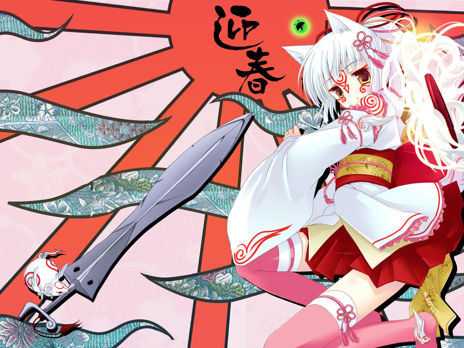 amaterasu animal_ears issun japanese_clothes kimono natsume_eri okami thighhighs wolfgirl