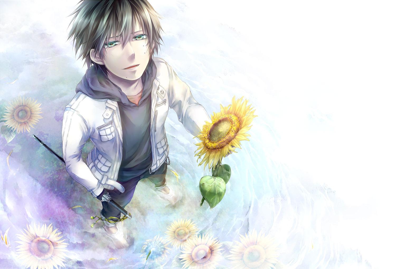 ao_no_exorcist flowers jpeg_artifacts katana okumura_rin sunflower sword weapon