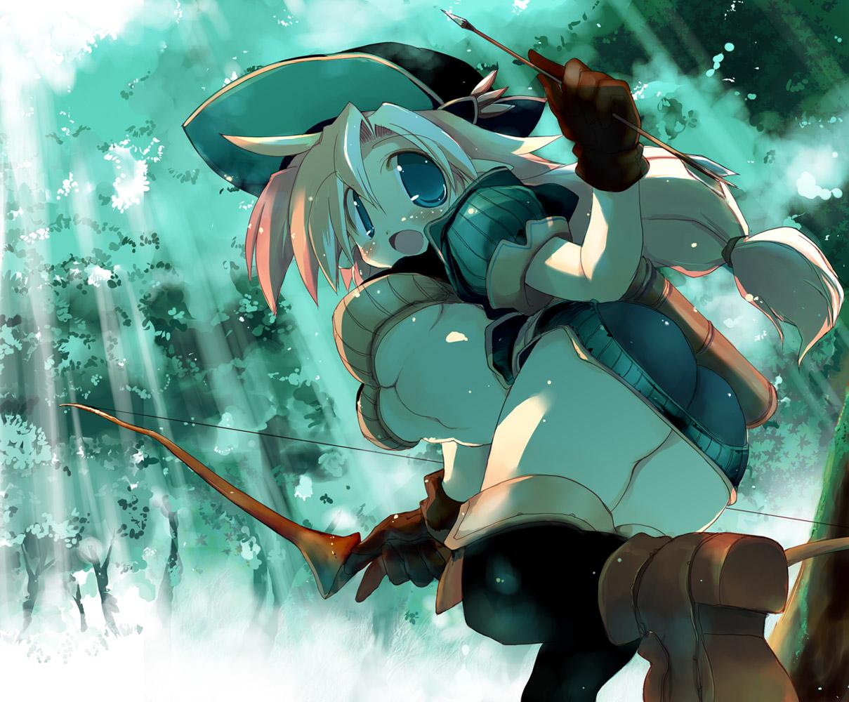 blonde_hair blue_eyes blush boots bow_(weapon) forest gloves hat original sakaki tree underboob weapon