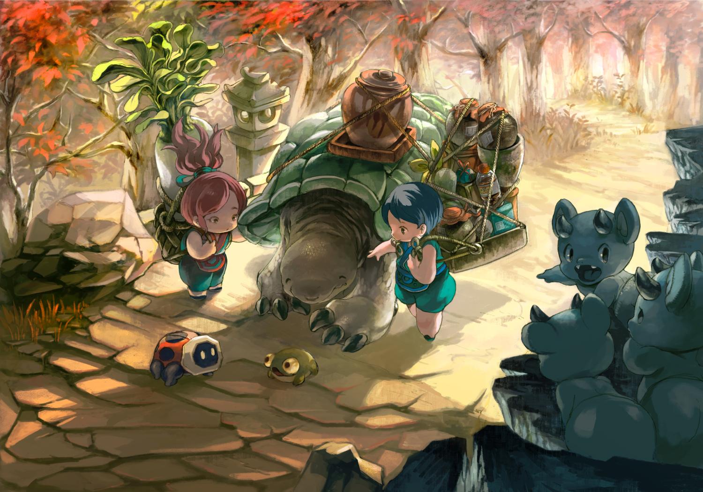 animal autumn blue_hair demon food forest frog male minato_(minat0) original ponytail red_hair rope short_hair tree turtle