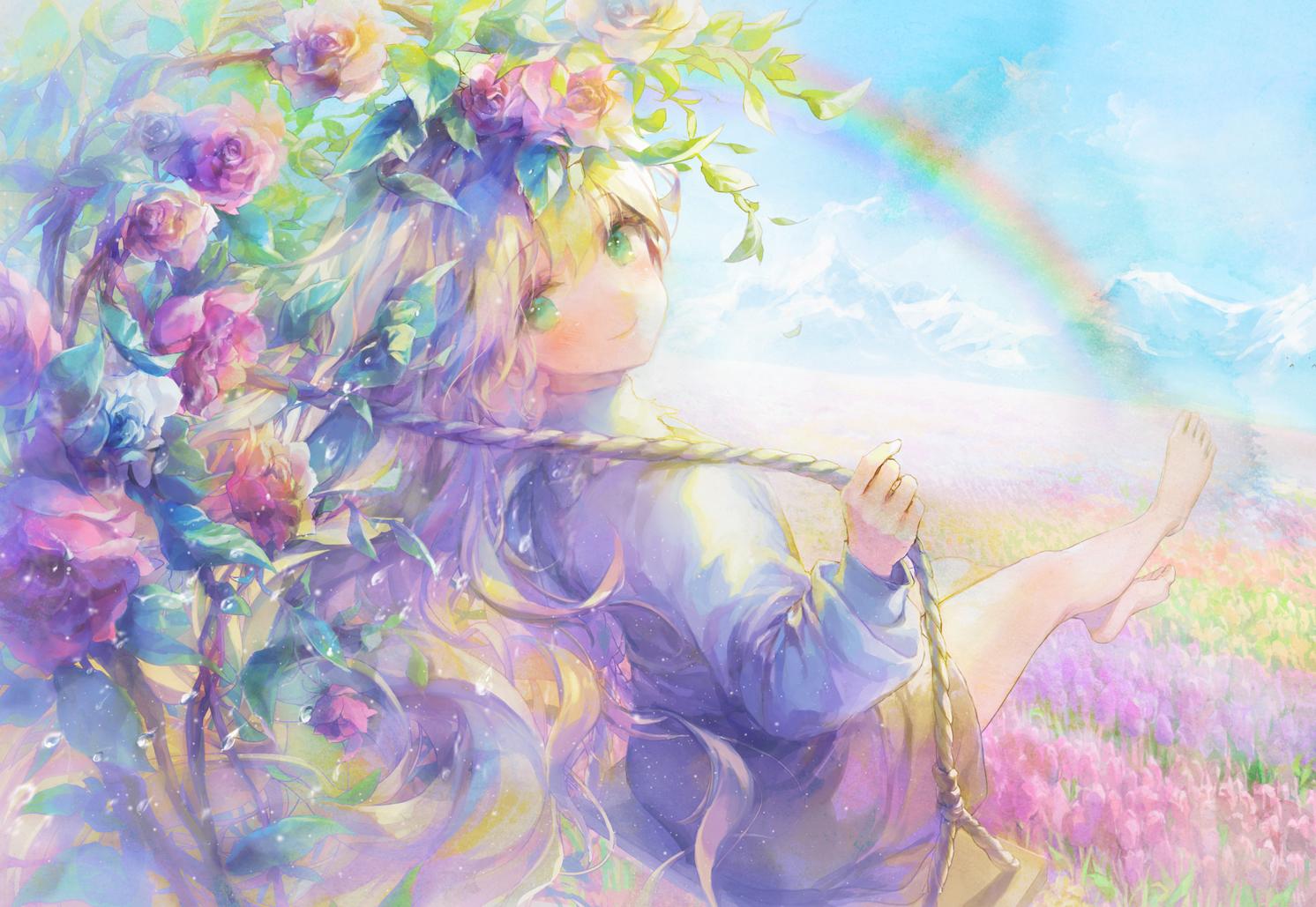 888myrrh888 barefoot blonde_hair blush clouds dress flowers green_eyes original rainbow sky