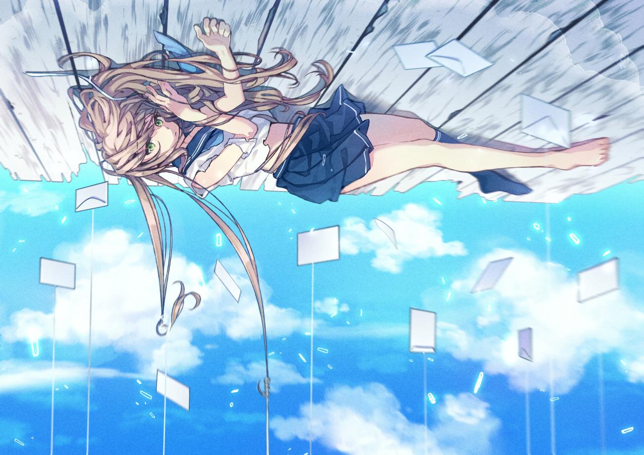 barefoot brown_hair clouds cogi_(cigikenn) green_eyes long_hair original school_uniform skirt sky