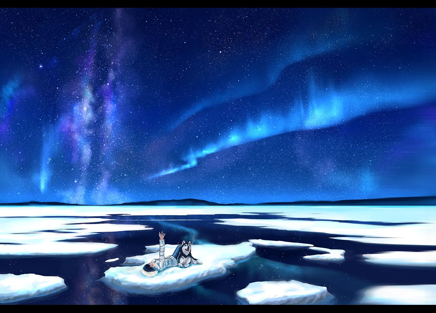 animal black_hair dog megatruh night original scenic sky stars water