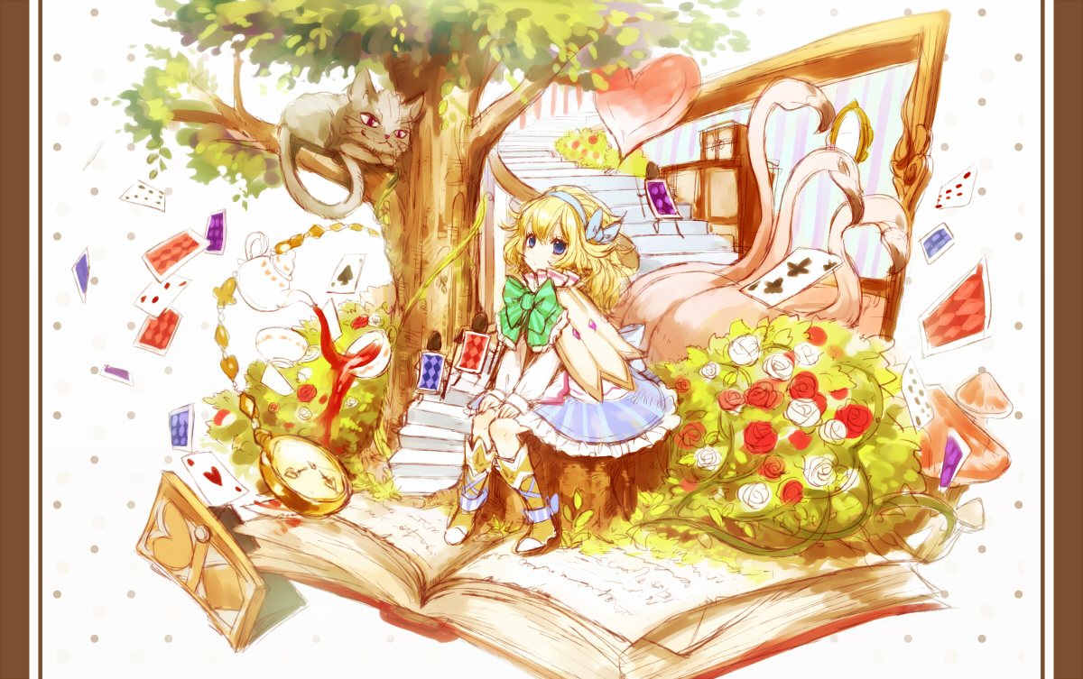 alice_(wonderland) alice_in_wonderland animal blonde_hair boots cat dress flowers original ria tree