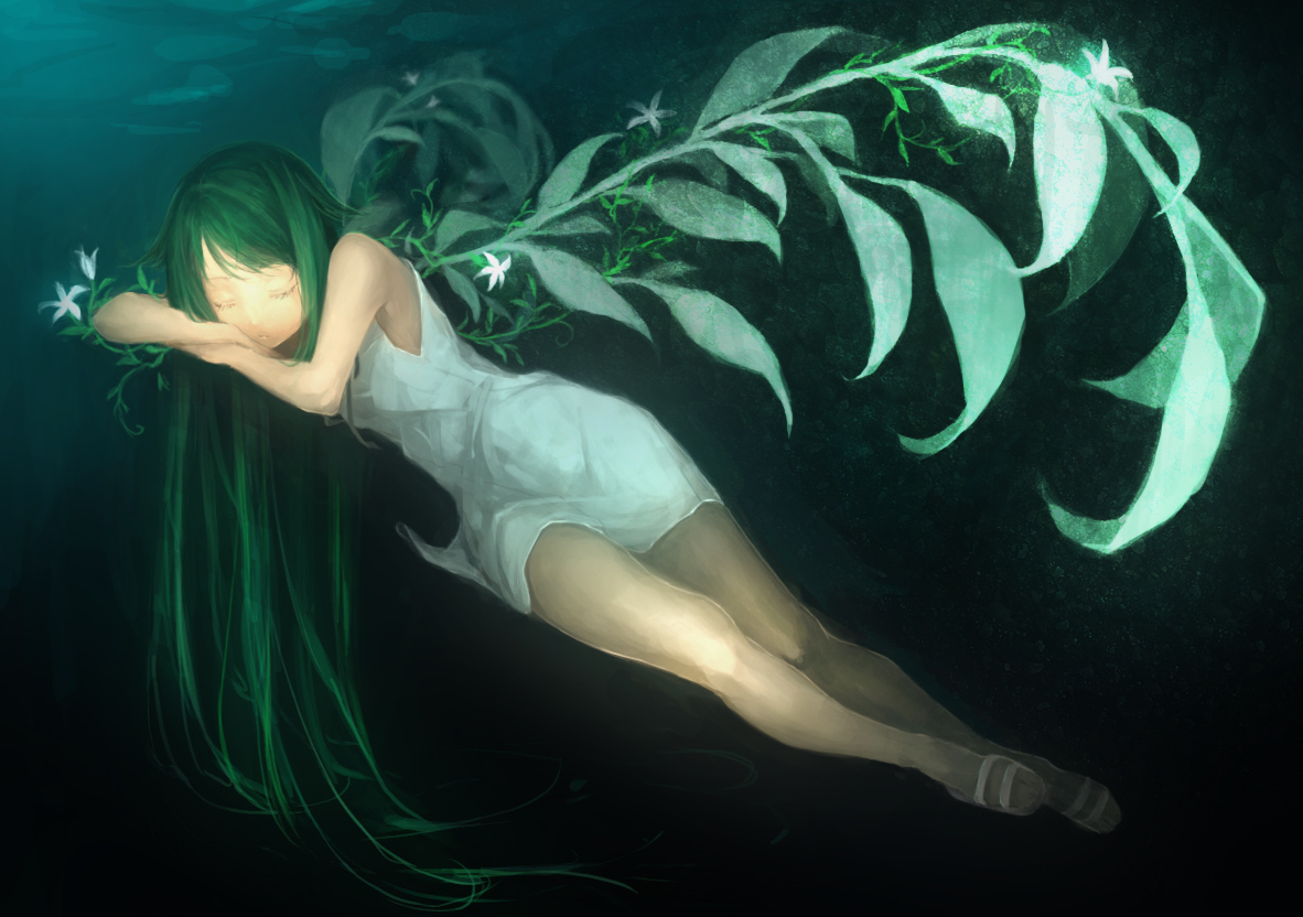 dress green_hair long_hair saya saya_no_uta sleeping stealth_tes summer_dress