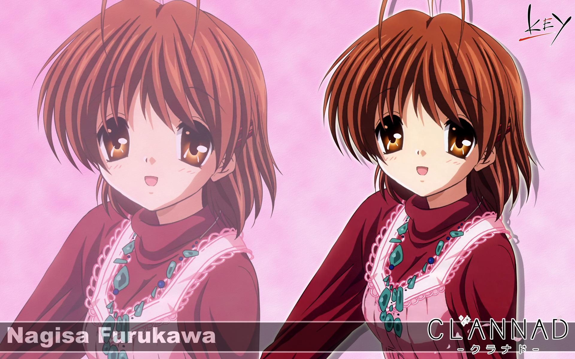 brown_eyes brown_hair clannad furukawa_nagisa key logo short_hair zoom_layer