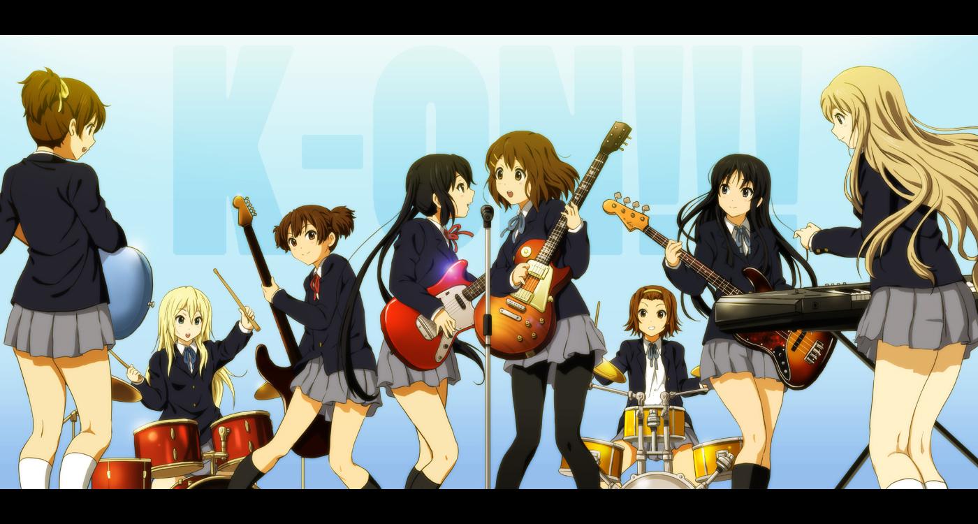 akiyama_mio drums guitar hirasawa_ui hirasawa_yui instrument k-on! kotobuki_tsumugi microphone nakano_azusa piano saitou_sumire school_uniform shian_(my_lonly_life.) suzuki_jun tainaka_ritsu