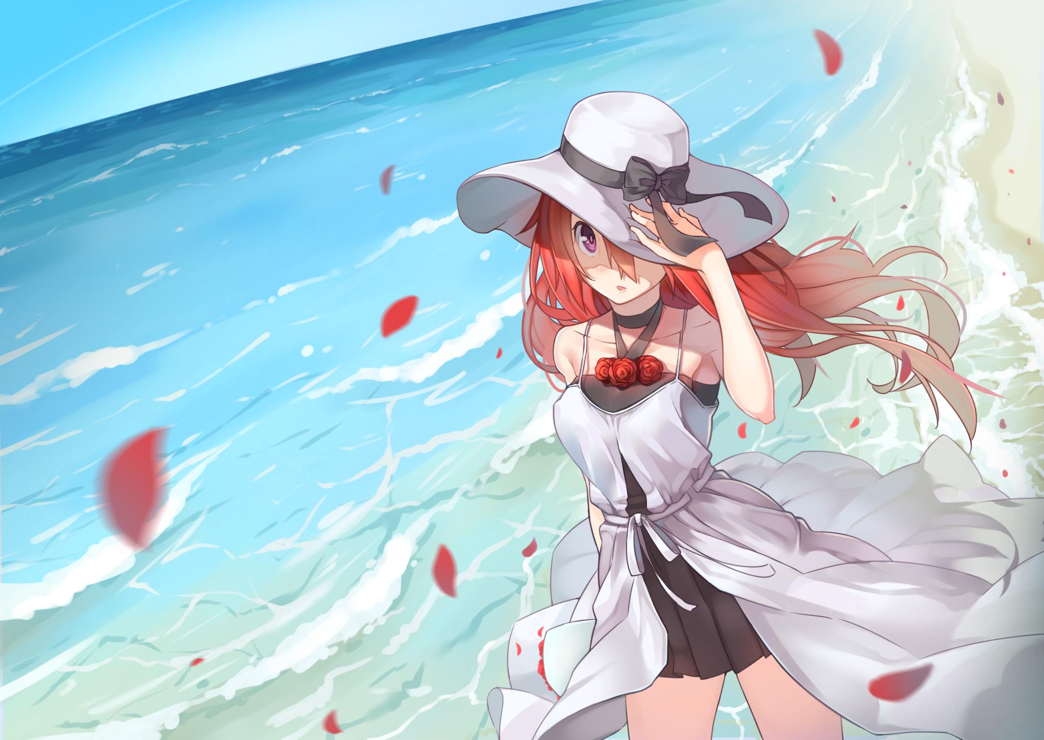 Beach bow choker dress flowers hat long hair original - Beach anime girl ...