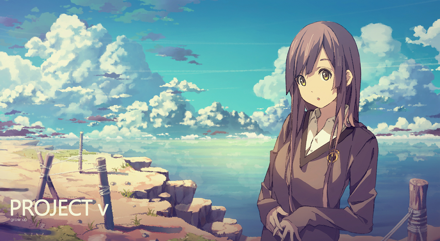 brown_eyes brown_hair clouds long_hair original scenic sky yohan12