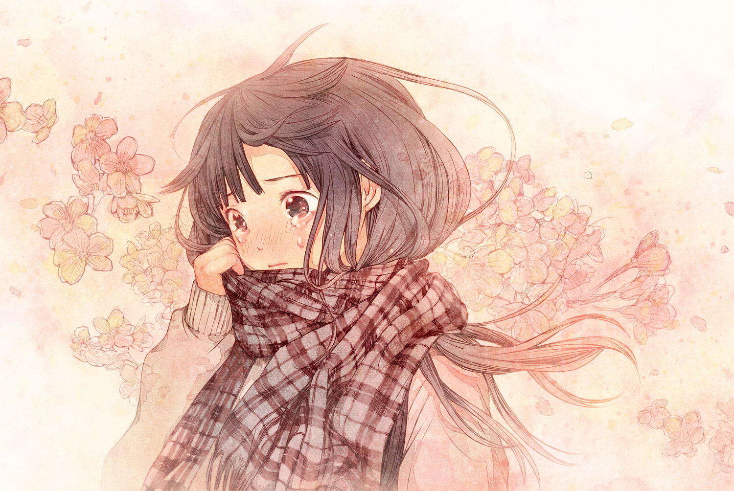 blush cherry_blossoms plasm sayoko sayonara_memories scarf tears