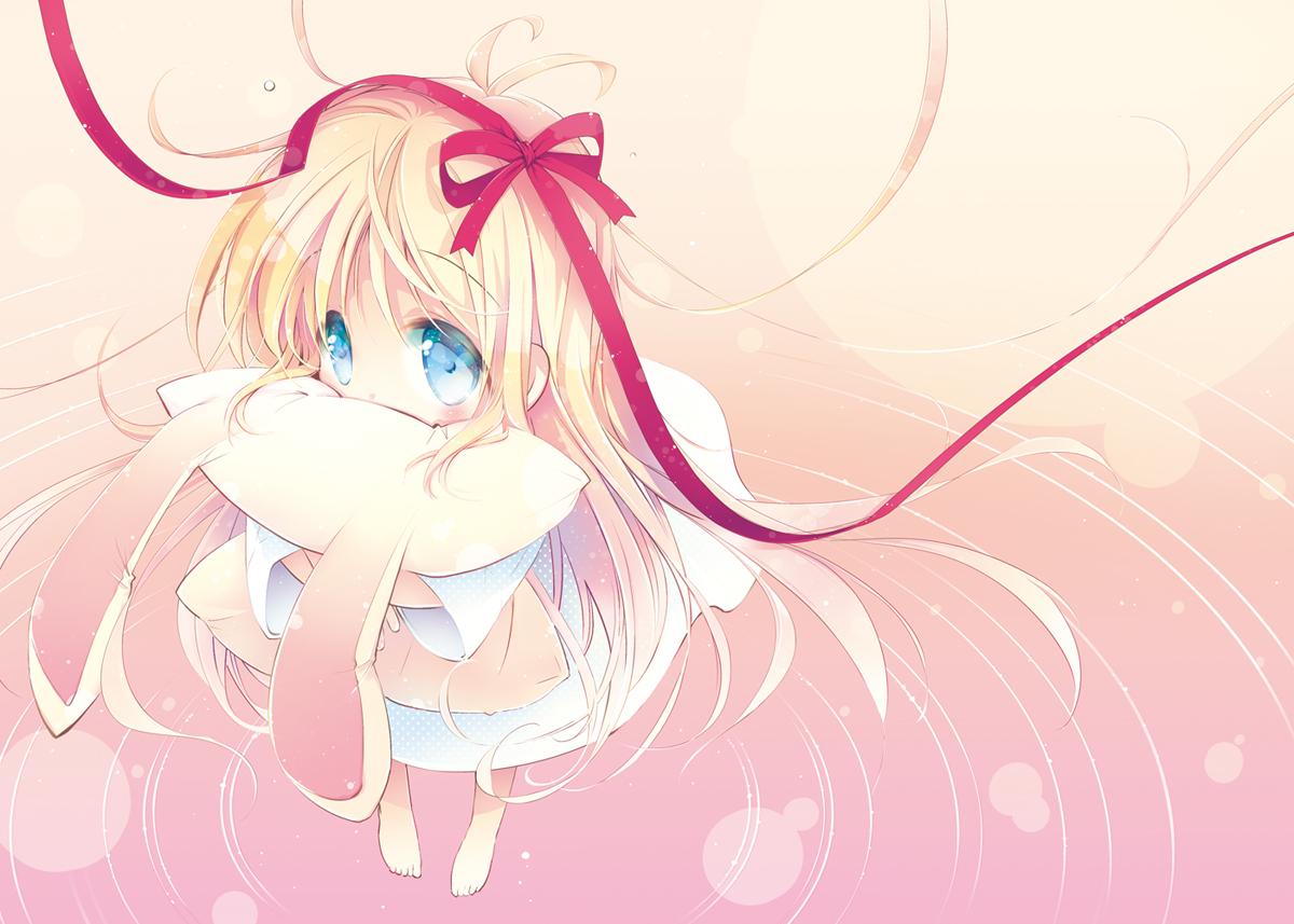 aqua_eyes barefoot blonde_hair blush hakase_(nichijou) long_hair mitaringo nichijou ribbons